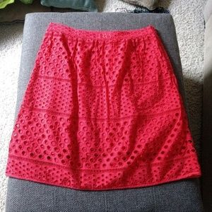 Loft Eyelet A-line Skirt in Strawberry Red, 10P